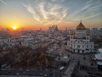 Россия. Москва. Храм Христа Спасителя. Sunset view of Moscow Cathedral of Christ the Savior in Moscow, Russia. Фото detukov_sergey-Depositphotos
