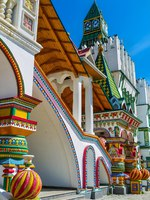The porch at the outer side of Izmailovsky Kremlin decorated with the bright towers, painted pillars and zig-zag balls, typical for the medieval Russia. Фото efesenko-D
