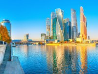Россия. Москва-сити. Panorama of the skyscrapers of the business center of Moscow from the embankment of the Moscow River. Фото fotosaga - Depositphotos