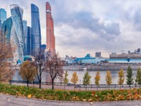 Россия. Москва-сити. The towers of the Moscow-City international business center. View from the Taras Shevchenko embankment. Фото fotiy - Depositphotos