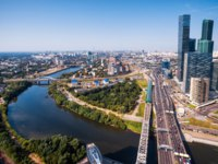 Россия. Москва-сити. Aerial view of Moscow with Moskva River, Russia. Skyscrapers of Moscow-City on the right. Фото scaliger - Depositphotos