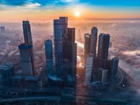 Россия. Москва-сити. Aerial view of towers of the Moscow International Business Centre at dawn. Фото dmitry.serebryakov - Depositphotos