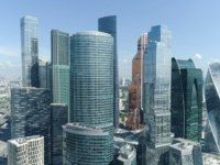 Россия. Москва-сити. Aerial view of beautiful complex of modern glass office buildings, Moscow city, urban jungle concept. Фото MediaWhalestock - Depositphotos