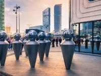 Россия. Москва-сити. MIBC Moscow City. Installation Echo (Art is the mirror of our days) by artist Husam Chaya. Фото fotiy - Depositphotos