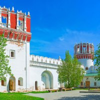 Россия. Москва. Новодевичий монастырь. The inner courtyard of Novodevichy Convent with its unusual Nikolskaya and Tsaritsyna towers, Фото efesenko-Deposit