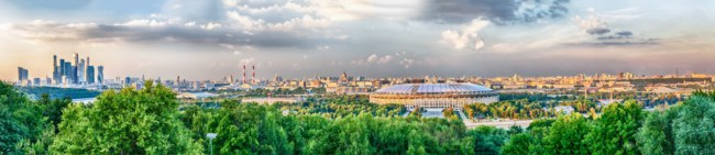 Москва. Воробьевы горы. Panoramic view of Moscow with Luzhniki Stadium, Sparrow Hills, Moscow University, Moscow River, Saint Andrew's Monastery