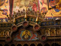 Интерьер Храма Василия Блаженного. Icon and ornaments on the interior walls of Saint Basil's Cathedral, the world famous orthodox church in the Red Square Moscow