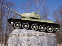 Россия. Город-герой Смоленск. Monument to the Russian T-34 tank in Yartsevo. Фото potatushkina.gmail.com - Depositphotos
