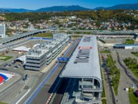 Россия. Сочи Автодром. Panoramic view - Sochi Autodrom in the Olympic Park. Фото dmzotov80@gmail.com - Depositphotos