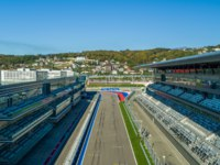 Россия. Сочи Автодром. Main Tribune and launch zone of Sochi Autodrom, aerial photography. Фото dmzotov80@gmail.com - Depositphotos