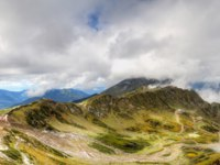 Россия. Сочи. Курорт Красная поляна. Rose Peak ski resort Caucasus autumn views mountains Krasnaya Polyana Sochi Russia panorama. Фото SergeyS - Depositphotos