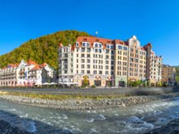 Россия. Сочи. Курорт Красная поляна. Panoramic view of the Mzymta river in the city of Krasnaya Polyana, Sochi mountain valleys. Sochi. Фото aapsky - Depositphotos