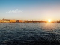 Annunciation bridge, Neva river, English embankment, Sphinxes of the Academy of arts, Vasilievsky island, evening sunset. Panorama Of St.Petersburg. Фото defrocked-D