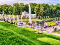 Санкт-Петербург. Петергоф. Большой каскад. View of the Peterhof Palace, the Grand Cascade and Samson Fountain in Peterhof, Russia. Фото marcorubino - Deposit