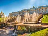Россия. Санкт-Петербург. Петергоф. Большой каскад. Grand Cascade in Peterhof, St Petersburg, Russia. Фото marcorubino - Depositphotos