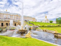 Россия. Санкт-Петербург. Петергоф. Фонтан Самсон. Samson Fountain in Peterhof Palace, Saint Petersburg. Russia. Фото deb-37 - Depositphotos