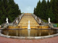 Россия. Санкт-Петербург. Петергоф. Каскад Золотая гора. Cascade fountain Gold Mountain in lower park of Peterhof in St. Petersburg, Russia. Фото oroch2 - Deposit