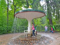Санкт-Петербург. Петергоф. Фонтан шутиха Зонтик. The Umbrella fountain cracker. Фото vodolej - Depositphotos