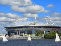 Krestovsky Stadium, also called Gazprom Arena-a football stadium, which was opened in 2017 for the FIFA Confederations Cup in SPb. Фото Balakate-Depositphotos