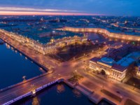 Россия. Санкт-Петербург. Панорама Главного штаба. Saint-Petersburg. Russia. Night St. Petersburg top panorama. Фото GrinPhoto - Depositphotos