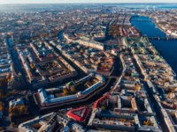 Россия. Санкт-Петербург. Канал Грибоедова. Bird-eye view, crossing streets and canals, Neva river bridges of St. Petersburg. Фото ParStud-Depositphotos