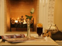 Россия. Санкт-Петербург. Интерьер Талион Империал отеля. Taleon Imperial Hotel St. Petersburg. Atlantes Bar Fireplace