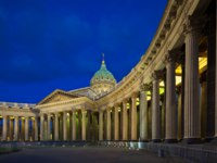 Россия. Санкт-Петербург. Казанский собор. Panorama of Kazan Cathedral in St.Kazan Cathedral in St. Petersburg's White Nights. Фото Anton Balazh-Depositphoto