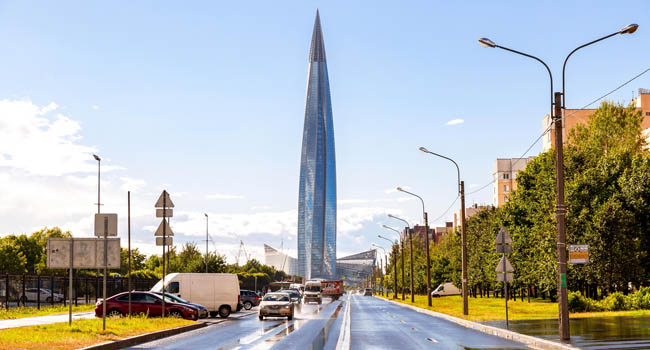 Россия. Санкт-Петербург. Лахта Центр. Skyscraper Lakhta Center of Gazprom is the highest in Russia and Europe. Saint Petersburg, Russia. Фото blinow61-Depositphotos