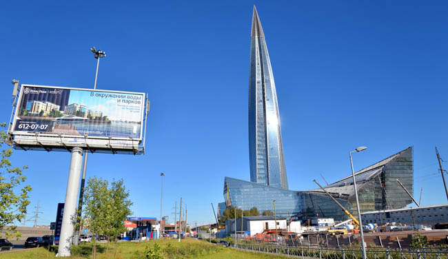 Россия. Санкт-Петербург. Лахта Центр. Skyscraper Lakhta Center is the northernmost in the world and the highest in Russia and Europe. Its height is 462 meters. Фото konstsem - Depositphotos