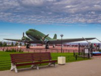 St Petersburg. The Village Of Osinovets. Museum Road of life. Lake Ladoga. Second world war. Siege of Leningrad. Transport aircraft LI-2T. Фото GrinPhoto-Deposit
