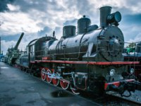 Россия. Город-герой Ленинград. Black locomotive. Retro locomotive. Фото GrinPhoto - Depositphotos