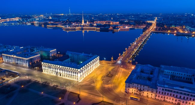 Санкт-Петербург. Мраморный дворSt Petersburg. Russia. Troitsky bridge aerial view. Peter and Paul cream at night. Palace embankment. Фото GrinPhoto - Deposit