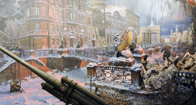 Diorama The siege of Leningrad in the Central Museum of the Great Patriotic War on Poklonnaya Hill in Moscow. Фото doroshin - Depositphotos