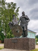 Россия. Ленинградская область. Старая Ладога. Monument to Prince Rurik and Oleg of Novgorod in Staraya Ladoga, Russia. Фото borisb17 - Depositphotos