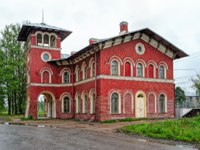 Railway station Strelna, built in the likeness of a medieval castle chapel in 1857 architect Nicholas Benois, at rainy day. Фото Igor-SPb - Depositphotos