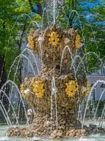 Fountain Koronny (Crown, 1725 by Mikhail Zemtsov) and ancient sculptures in the antique city's park Summer Garden St-Petersburg. Фото Igor-SPb - Deposit