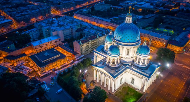 Россия. Санкт-Петербург. Троицкий собор. Aerial view of Trinity Cathedral in St. Petersburg. Russia. Фото GrinPhoto - Depositphotos