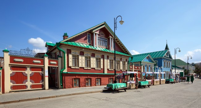 Россия. Татарстан. Казань. Старо-Татарская слобода. House of the Merchant Mullin, Tatarskaya Sloboda on the Kayuma Nasyri street. Kazan, Tatarstan, Russia. Фото Balakate - Deposit