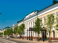 Россия. Татарстан. Казань. Traditional architecture in the streets of Kazan - Tatarstan, Russia. Фото Leonid_Andronov - Depositphotos