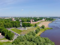 Великий Новгород. Новгородский детинец. Veliky Novgorod. Novgorod Kremlin (Detinets), Volkhov River. Flight over the city, From Drone. Фото MaykovNikita - Deposit