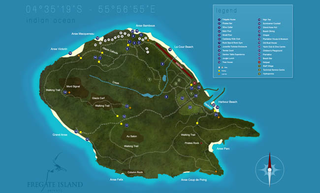 Сейшелы. Остров Фрегат. Fregate Island Private Map. Seychelles