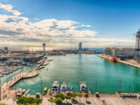 Испания. Каталония. Барселона. Aerial view of Port Vell, Barcelona, Catalonia, Spain. Фото marcorubino - Depositphotos