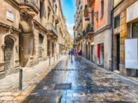 Испания. Каталония. Барселона. Scenic street in La Ribera district, Barcelona, Catalonia, Spain. Фото marcorubino - Depositphotos