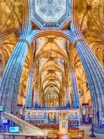 Испания. Каталония. Барселона. Panoramic view inside Barcelona Cathedral, Catalonia, Spain. Фото marcorubino - Depositphotos