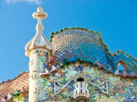 Испания. Барселона. Дом Батльо (арх. А.Гауди). The facade of the house Casa Battlo. Фото Luciano Mortula - Depositphotos