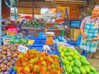 The small kitten plays on the tray with rambutans and mangosteens of a fruit stall in Maeklong Railway Market in Maeklong. Фото efesenko - Depositphotos