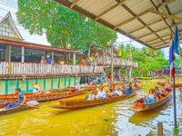 Тайланд. Дамноен Садуак - рынок на воде. The khlong of Damnoen Saduak floating market with many sampan boats of food sellers. Фото efesenko-Deposit