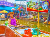 Make some shopping, choosing snacks, grilled seafood, and souvenirs in sampans of Ton Khem floating market vendors in Damnoen Saduak. Фото efesenko-Deposit