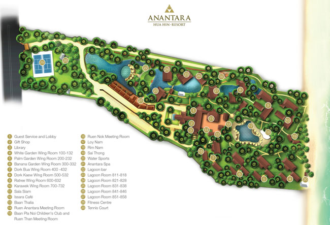 Клуб путешествий Павла Аксенова. Таиланд. Хуа-Хин. Anantara Hua Hin Resort. Map September 2017