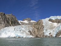 США. Аляска. Panorama of Retreating the Retreating Northwestern Glacier in Kenai Fjords National Park in Alaska. Фото wildnerdpix - Depositphotos
